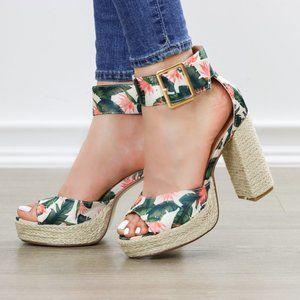 Floral Print Platform Espadrilles, Ankle Buckle